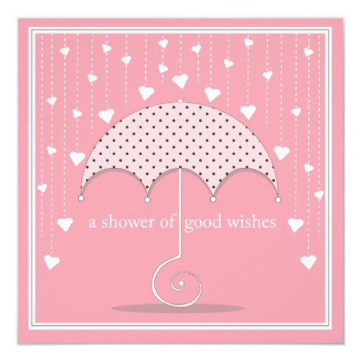 Shower of Hearts Pink Baby Shower Invitation