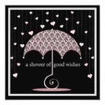 """Shower of Hearts Pink Black Damask Bridal Shower 5.25"""" Square Invitation Card"""