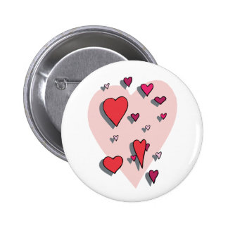 Shower of Red Hearts 2 Inch Round Button