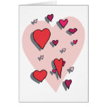Shower of Red Hearts Card