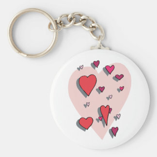 Shower of Red Hearts Basic Round Button Keychain