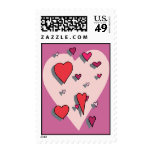 Shower of Red Hearts Stamps