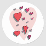 Shower of Red Hearts Sticker