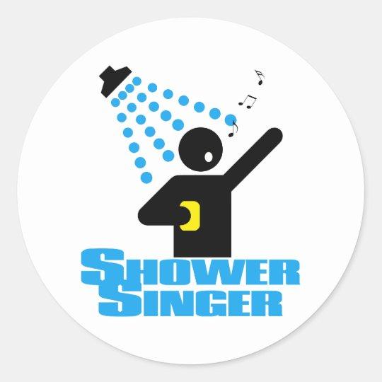 Shower Singer Classic Round Sticker