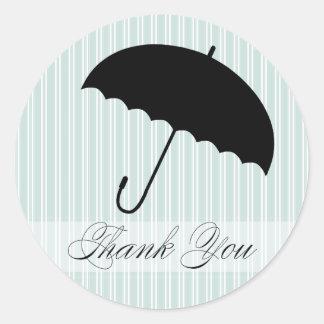 Shower Thank You Blue Umbrella Sticker