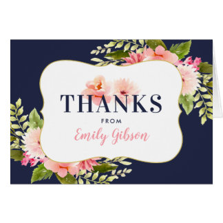 Shower Thank You | Blush Floral Watercolor Card