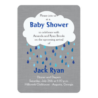 'Showered with Love' Baby Boy Shower Invitation