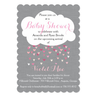 'Showered with Love' Baby Girl Shower Invitation