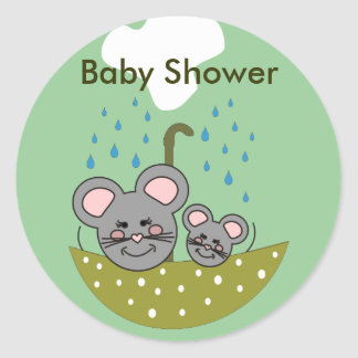 Showering Mice Baby Showers Stickers