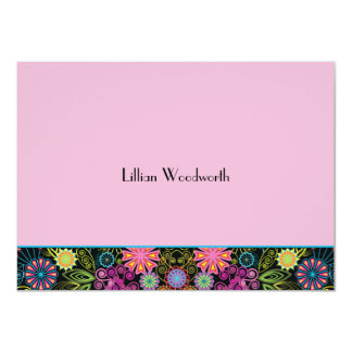 Showers of Brightness Pink Personalized Notecard 4.5x6.25 Paper Invitation Card