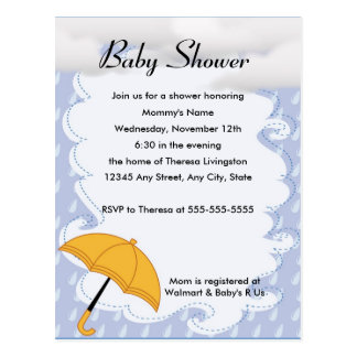 Showers Of Happiness Baby Shower Invitation Postcard