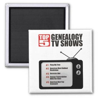 Showes televisivo de la genealogía del top 5 imán cuadrado