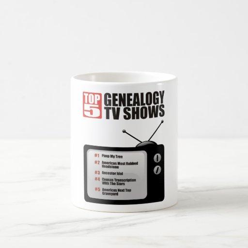 Showes televisivo de la genealogía del top 5 taza básica blanca
