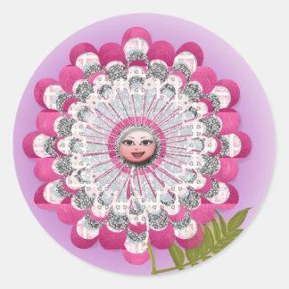 Showgirl flower classic round sticker