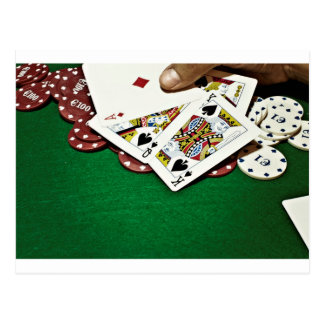 Showing cards green table poker