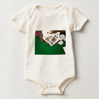 Showing cards green table poker baby bodysuit