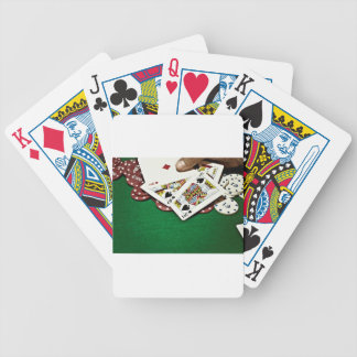 Showing cards green table poker bicycle playing cards