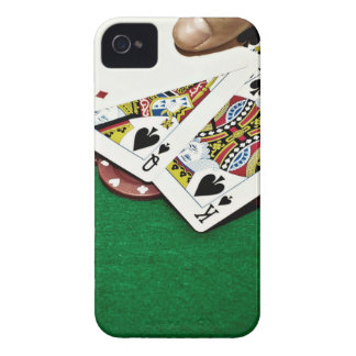 Showing cards green table poker iPhone 4 case