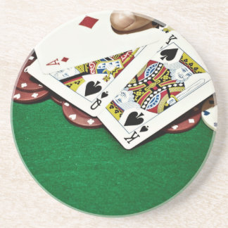 Showing cards green table poker coaster