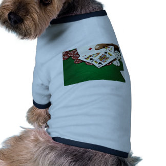 Showing cards green table poker pet tee