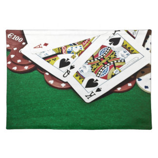 Showing cards green table poker placemat