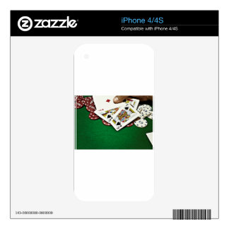 Showing cards green table poker iPhone 4S decal