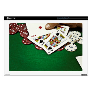 """Showing cards green table poker 17"""" laptop decal"""