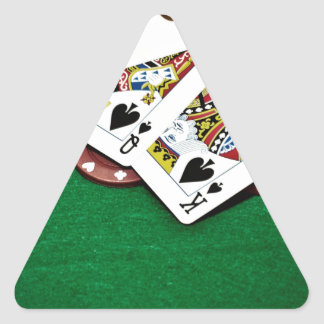 Showing cards green table poker triangle sticker