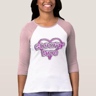 Showing Love Ladies 3/4 Sleeve Raglan (Fitted) T-Shirt