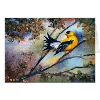Showing Off Bird Blank Card card