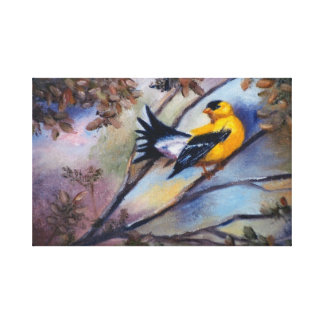 Showing Off Bird Wrapped Canvas Print