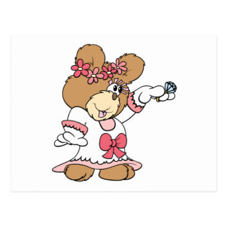 showing off ring bride to be teddy bear postcard
