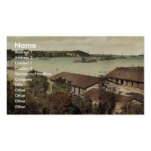 Showing war ships, the harbor, Kiel, Schleswig-Hol Business Card Templates