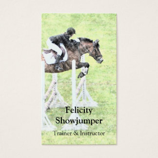 Showjumper jumping a fence business card