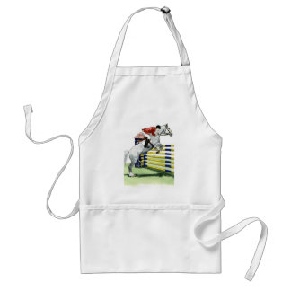 Showjumping Blue and yellow Vertical HORSE ART Adult Apron