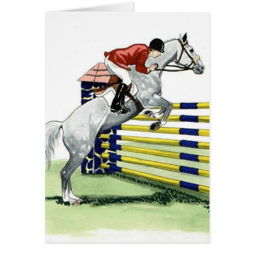 Showjumping Blue and yellow Vertical HORSE ART Card