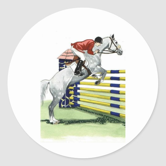 Showjumping Blue and yellow Vertical HORSE ART Classic Round Sticker