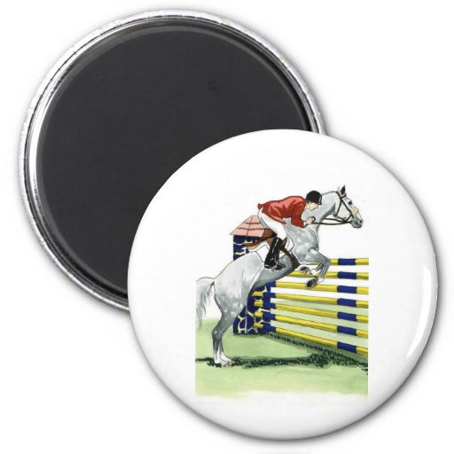Showjumping Blue and yellow Vertical HORSE ART Magnet