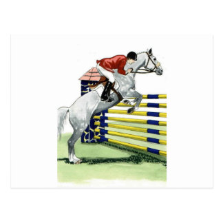 Showjumping Blue and yellow Vertical HORSE ART Postcard