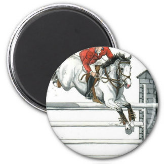Showjumping Grey Horse Over Fences 2 Inch Round Magnet