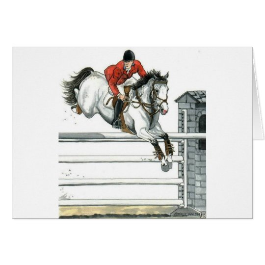 Showjumping Grey Horse Over Fences Card