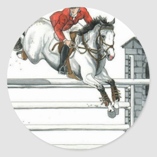 Showjumping Grey Horse Over Fences Classic Round Sticker