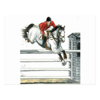 Showjumping Grey Horse Over Fences Postcard
