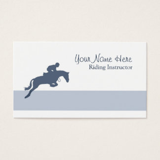 Showjumping silhouette in blue business card