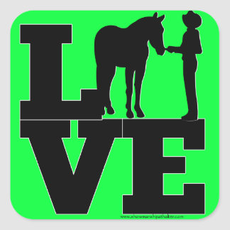 Showmanship Love - green Square Sticker