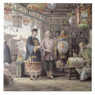 Showroom of a Lantern Merchant in Peking, from 'Ch Ceramic Tile