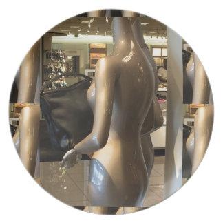 Showroom window women's fashion bags purse wallet plate