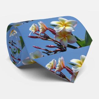 Showy Plumeria Frangipani Blooms Neck Tie