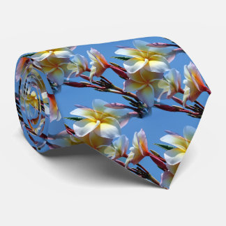 Showy Plumeria Frangipani Blooms Tie