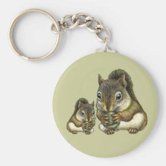 Shquirrel de la madre y del bebé llaveros personalizados